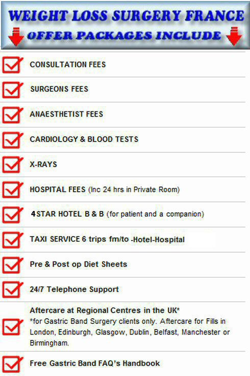 the package for gastric band surgery offers includes the following extras